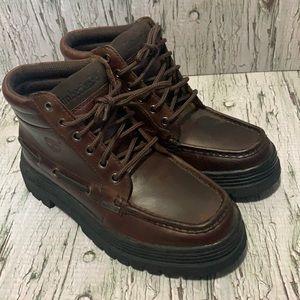 Timberland Premium Brown Leather Moc-Toe Boot lug